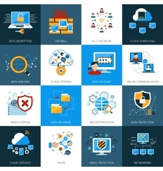 Network Security Icons Set vector image