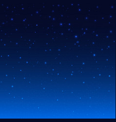 Night shining starry sky blue space background vector