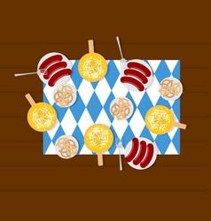 oktoberfest food beer and sausages pretzels in vector image