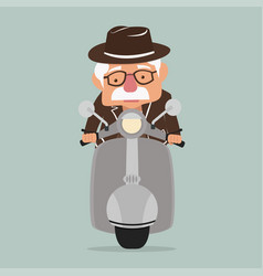 old man driving front view motorbike vector image