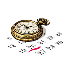 old pocket watch is sitting on a calendar vector image