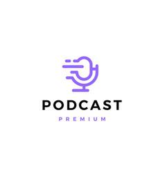Podcast mic dash logo icon vector