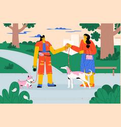 professional pet walker taking dog on leash vector image