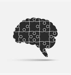 puzzle pieces silhouette brain jigsaw puzzle brain vector image