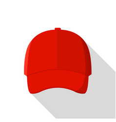 red front baseball cap icon flat style vector image