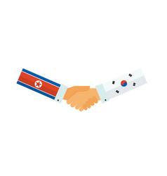representatives south and north korea shake vector image