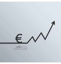 Ribbon euro sign and exchange the curve arrow vector image