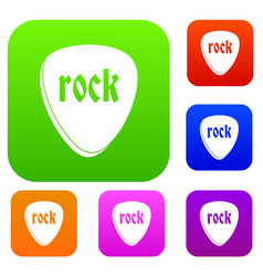 Rock stone set color collection vector