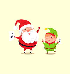 Santa elf cartoon characters singing carol songs vector