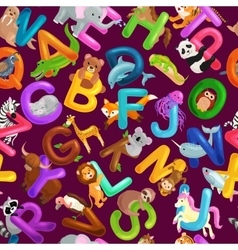 Seamless pattern animals alphabet for kids abc vector