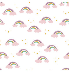seamless pattern with cute rainbow simple print vector image