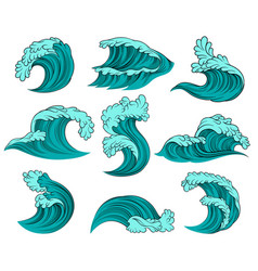 set of different sea waves with foam high vector image