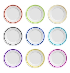 Set of plates with colored stripe isolated on vector