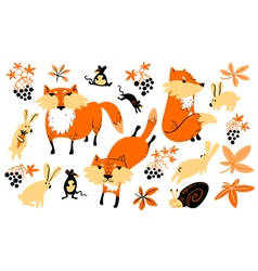 Set with animals and florals in childrens style vector