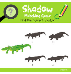 Shadow matching game alligator vector
