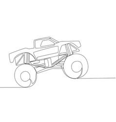 Single line drawing of 4x4 wheel steering monster vector