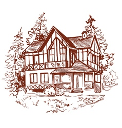 Sketch of house prewew vector