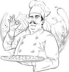 Sketch of Pizzeria Chef Holding Pizza Pan vector image