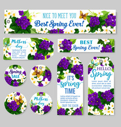 Spring season sale and mother day holiday tag vector