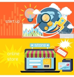 Start up and online store icons vector image