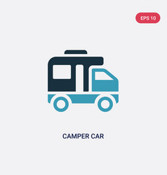Two color camper car icon from transportation vector