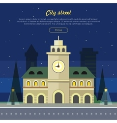 Urban city at night time building vector