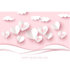 valentine day background white cut paper heart vector image