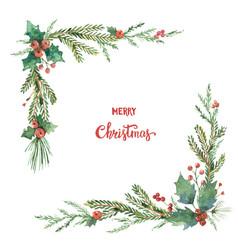 Watercolor christmas decorative corner vector