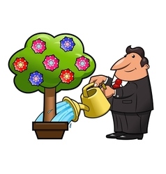 Watering the flower tree vector image