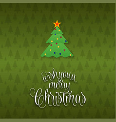 we wish you a merry christmas tree background vector image