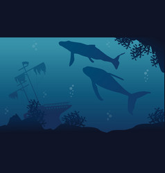 Whale and ship on underwater landscape silhouettes vector