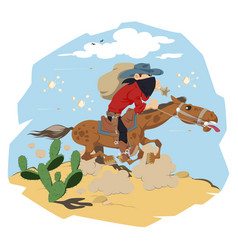 wild west world cowboy on horse funny people vector image
