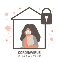 Woman defends from coronavirus home insulation vector