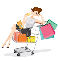 Woman holding card sitting in shopping cart vector