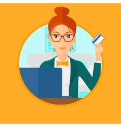 Woman shopping online using her laptop vector