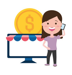 woman using smartphone and desktop with coin vector image