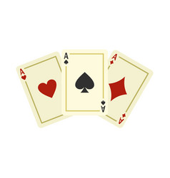 aces playing cards icon flat style vector image