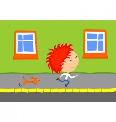 dog chasing kid vector image vector image