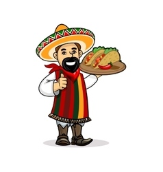 Mexican cook with menu and tacos vector