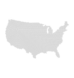 USA map of radial halftone dots vector image