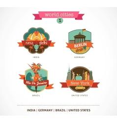 World Cities labels - Delhi Berlin Rio New York vector image