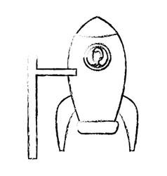 business man inside rocket startup work vector image