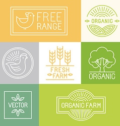 fresh farm and free range labels vector image vector image