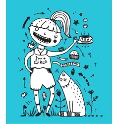 Girl cat and bird friends drinking tea with cake vector image