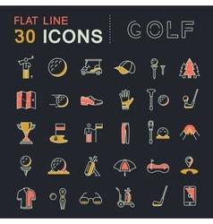 Set Flat Line Icons Golf vector image