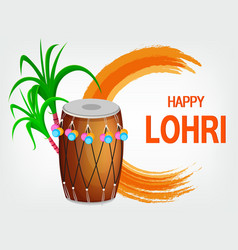 traditional decorated drum and sugarcane vector image