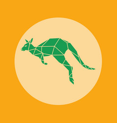 green kangaroo icon in orange background vector image