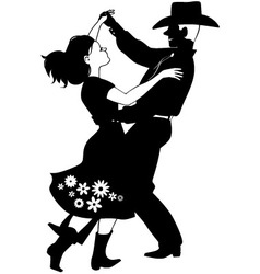 Polka dancers silhouette vector image