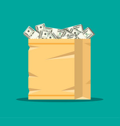 stack of dollar banknotes in paper shopping bag vector image vector image