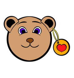 head of a teddy bear with a heart label icon vector image